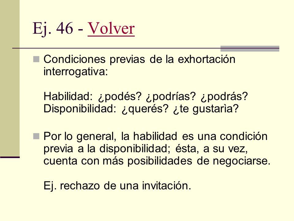 Ej. 45 - VolverVolver Entonación de la exhortación directa cortés en castellano. - Mandato: refuerzo. - Ruego: atenuación. En lenguas como el inglés y