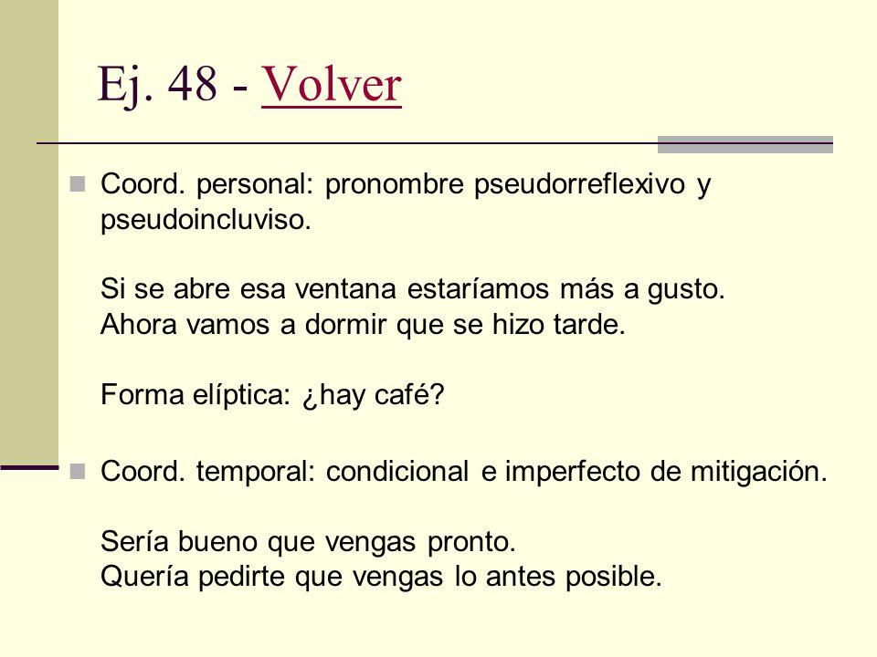 Ej. 47 - VolverVolver Aserción específica: Hace frío en esta habitación. Nota: puede operar como argumento de la exhortación directa (cerrá la puerta