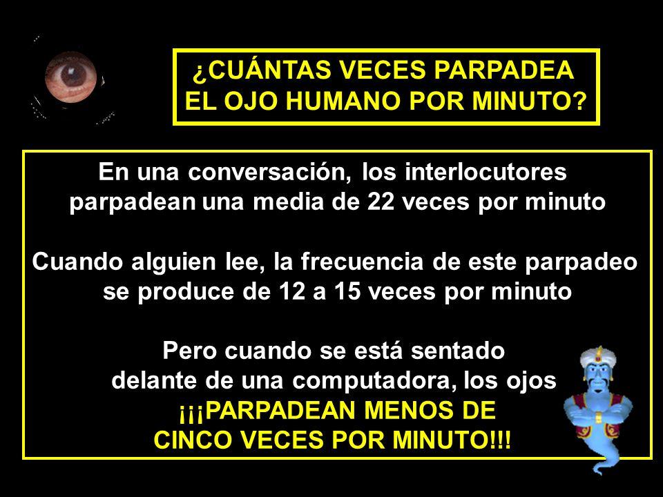 En una conversación, los interlocutores parpadean una media de 22 veces por minuto Cuando alguien lee, la frecuencia de este parpadeo se produce de 12 a 15 veces por minuto Pero cuando se está sentado delante de una computadora, los ojos ¡¡¡PARPADEAN MENOS DE CINCO VECES POR MINUTO!!.
