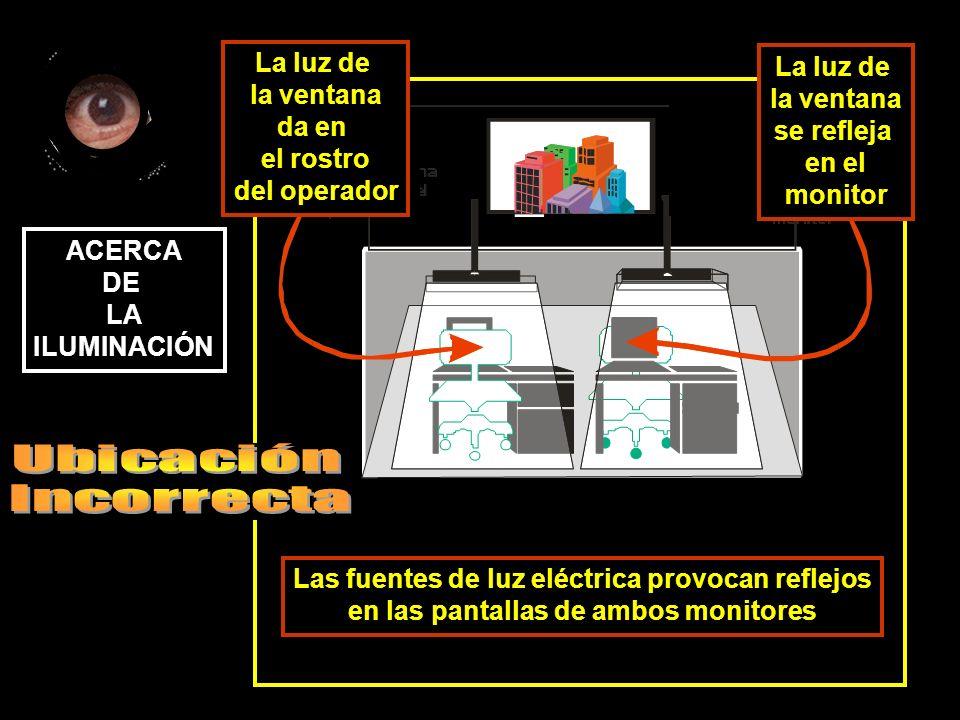 Las fuentes de luz eléctrica provocan reflejos en las pantallas de ambos monitores ACERCA DE LA ILUMINACIÓN La luz de la ventana se refleja en el monitor La luz de la ventana da en el rostro del operador