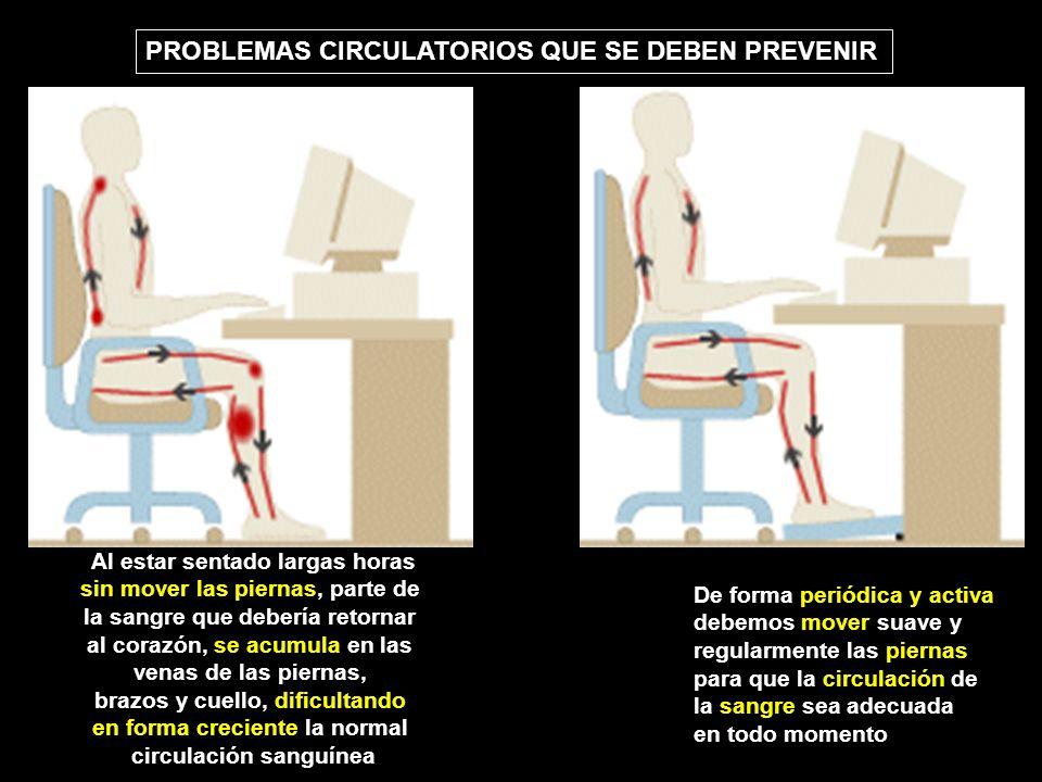 Al estar sentado largas horas sin mover las piernas, parte de la sangre que debería retornar al corazón, se acumula en las venas de las piernas, brazos y cuello, dificultando en forma creciente la normal circulación sanguínea De forma periódica y activa debemos mover suave y regularmente las piernas para que la circulación de la sangre sea adecuada en todo momento PROBLEMAS CIRCULATORIOS QUE SE DEBEN PREVENIR