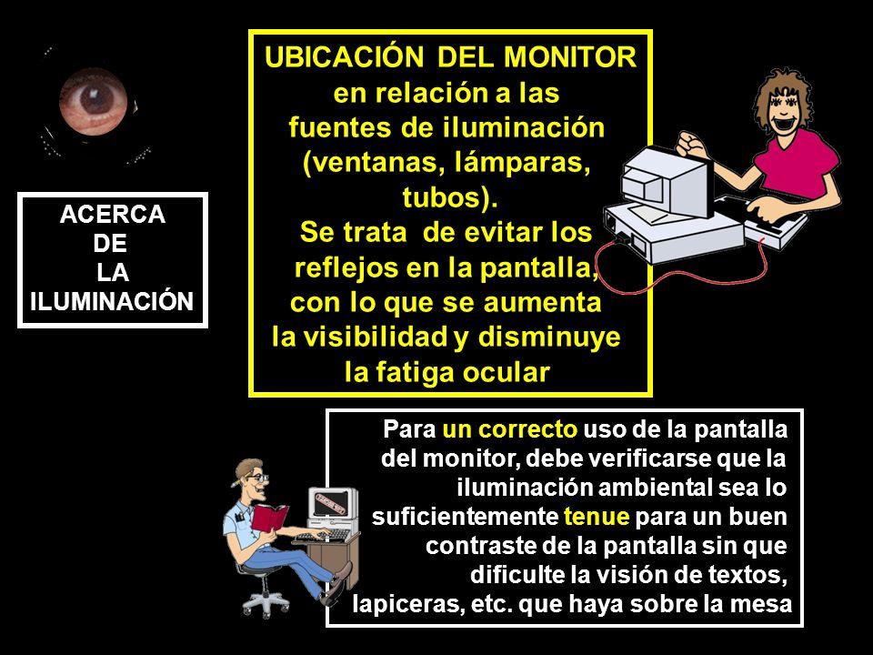 UBICACIÓN DEL MONITOR en relación a las fuentes de iluminación (ventanas, lámparas, tubos).