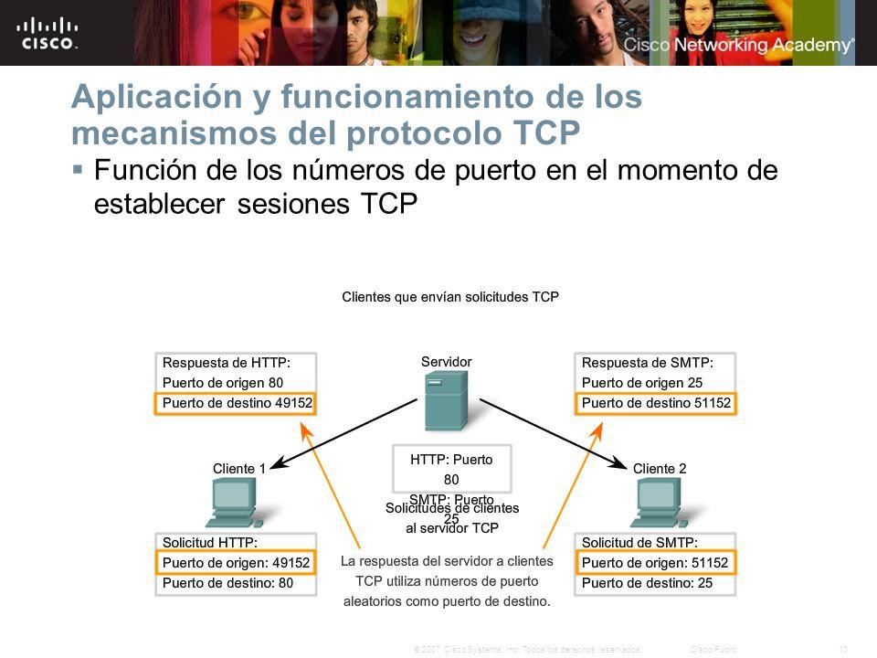 10© 2007 Cisco Systems, Inc. Todos los derechos reservados.Cisco Public Aplicación y funcionamiento de los mecanismos del protocolo TCP Función de los