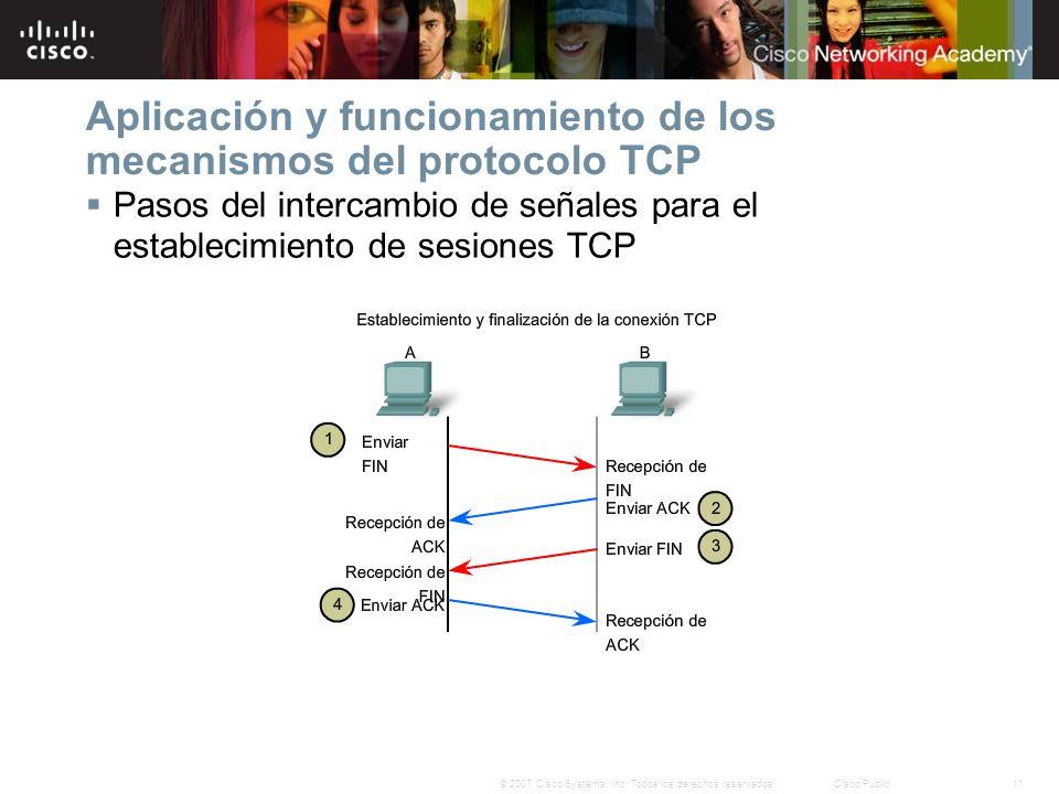 11© 2007 Cisco Systems, Inc. Todos los derechos reservados.Cisco Public Aplicación y funcionamiento de los mecanismos del protocolo TCP Pasos del inte