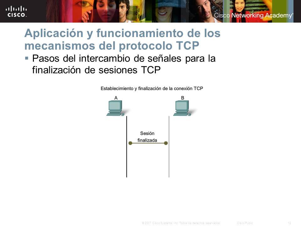 12© 2007 Cisco Systems, Inc. Todos los derechos reservados.Cisco Public Aplicación y funcionamiento de los mecanismos del protocolo TCP Pasos del inte