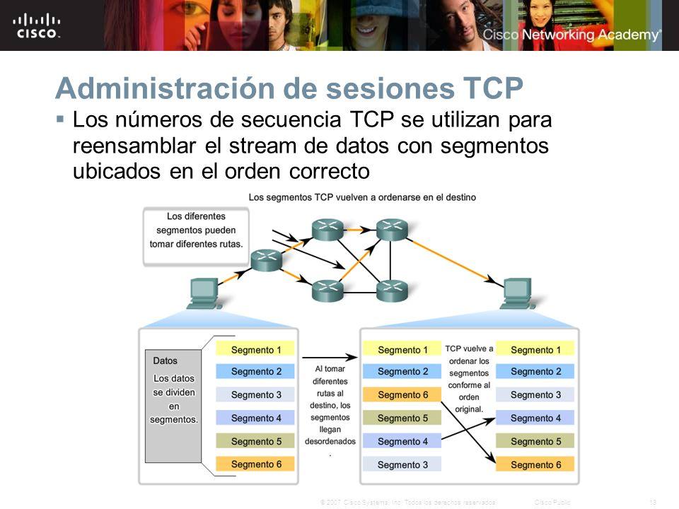 13© 2007 Cisco Systems, Inc. Todos los derechos reservados.Cisco Public Administración de sesiones TCP Los números de secuencia TCP se utilizan para r
