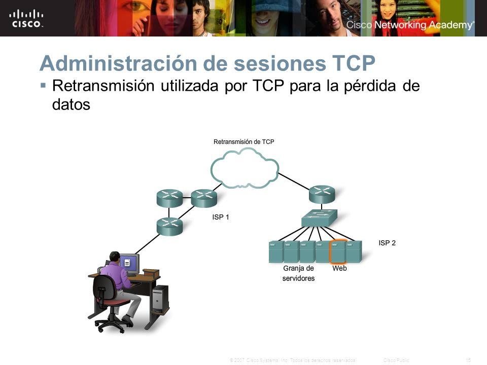 15© 2007 Cisco Systems, Inc. Todos los derechos reservados.Cisco Public Administración de sesiones TCP Retransmisión utilizada por TCP para la pérdida