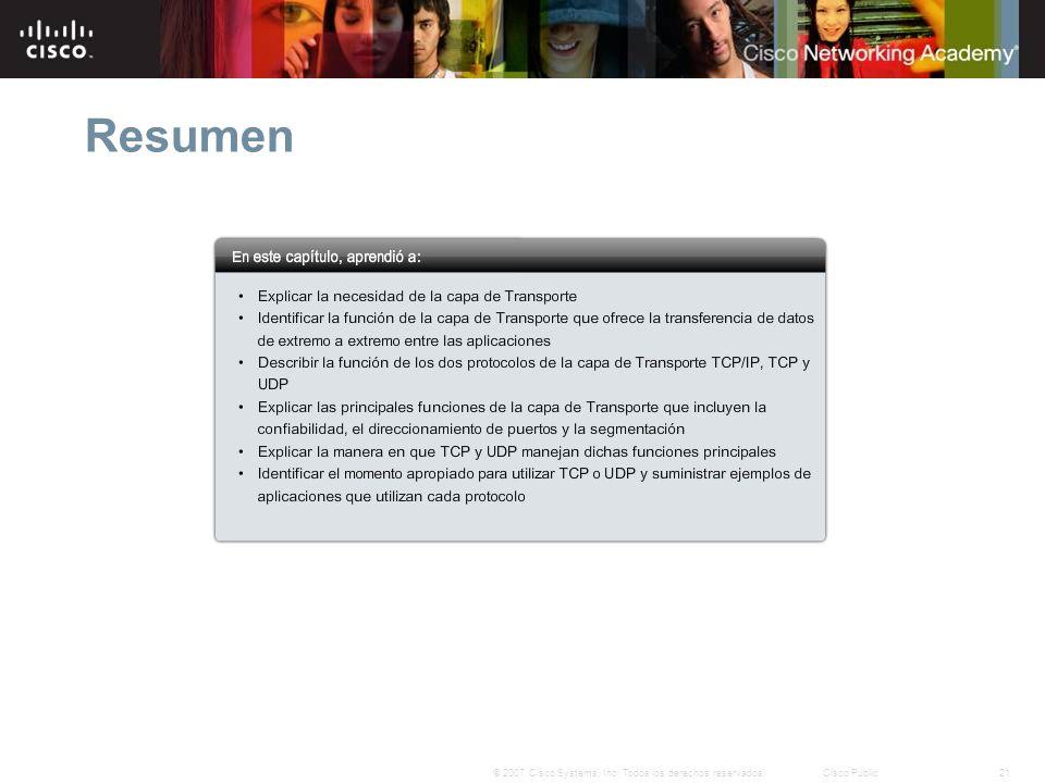 21© 2007 Cisco Systems, Inc. Todos los derechos reservados.Cisco Public Resumen