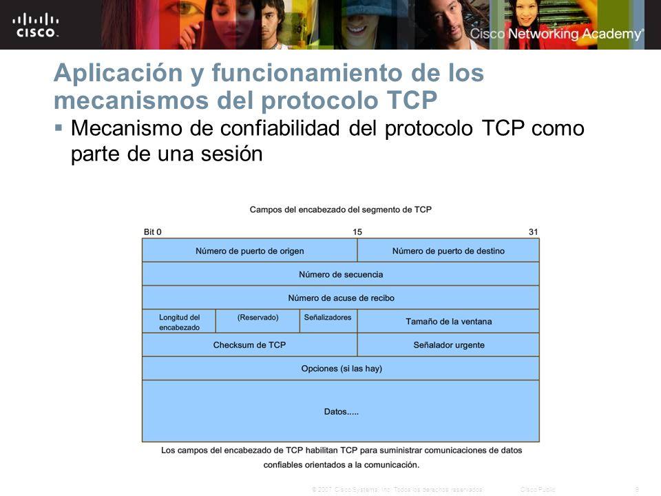 9© 2007 Cisco Systems, Inc. Todos los derechos reservados.Cisco Public Mecanismo de confiabilidad del protocolo TCP como parte de una sesión Aplicació
