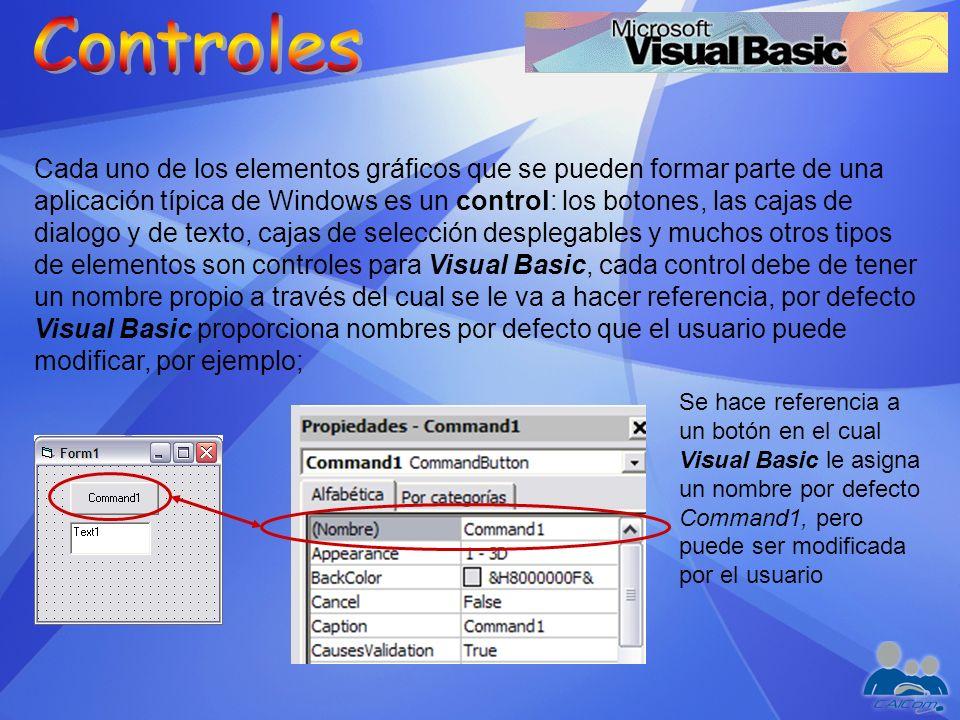 Cada uno de los elementos gráficos que se pueden formar parte de una aplicación típica de Windows es un control: los botones, las cajas de dialogo y d