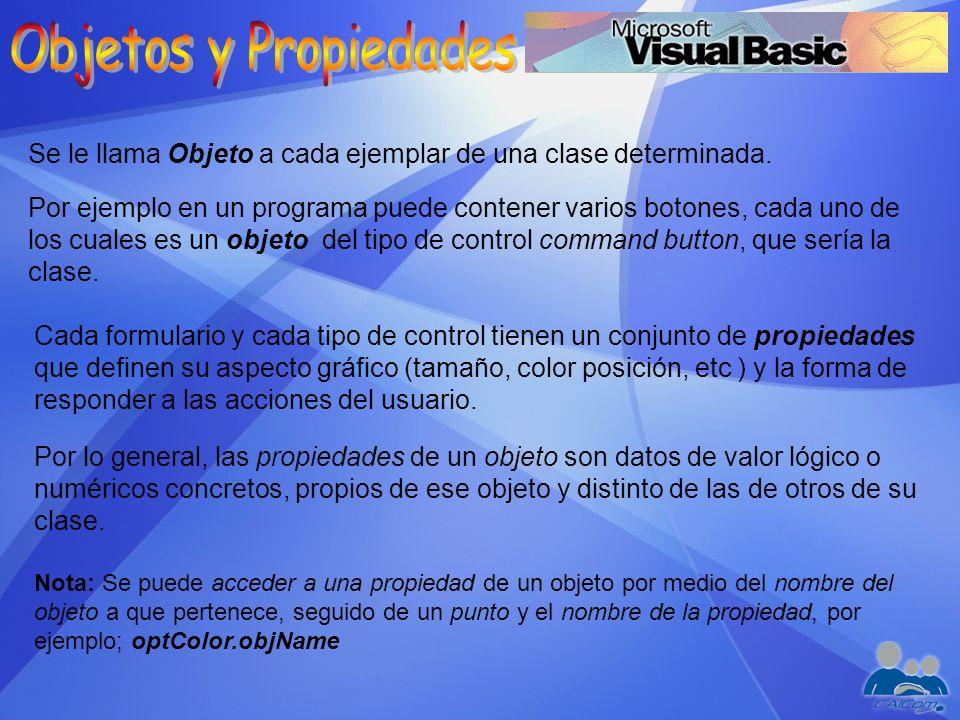 Se le llama Objeto a cada ejemplar de una clase determinada. Por ejemplo en un programa puede contener varios botones, cada uno de los cuales es un ob