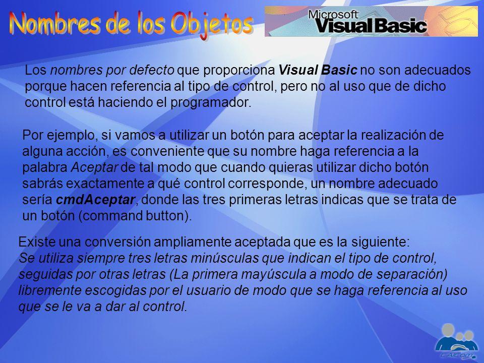 Los nombres por defecto que proporciona Visual Basic no son adecuados porque hacen referencia al tipo de control, pero no al uso que de dicho control