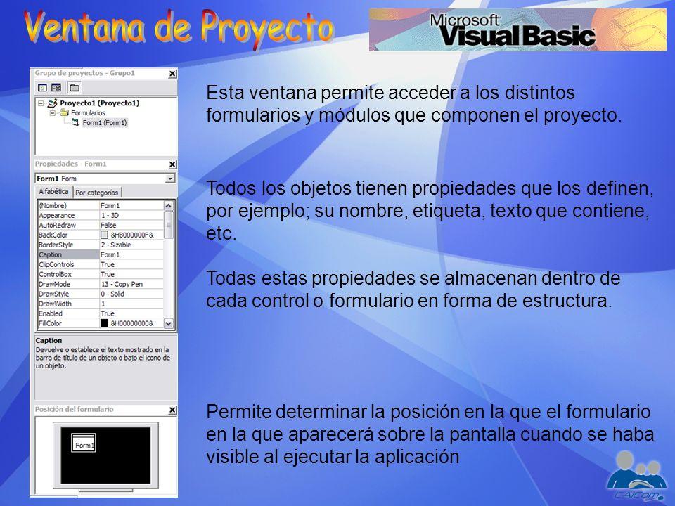 Esta ventana permite acceder a los distintos formularios y módulos que componen el proyecto. Todos los objetos tienen propiedades que los definen, por