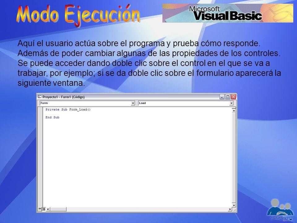 Cada uno de los elementos gráficos que se pueden formar parte de una aplicación típica de Windows es un control: los botones, las cajas de dialogo y de texto, cajas de selección desplegables y muchos otros tipos de elementos son controles para Visual Basic, cada control debe de tener un nombre propio a través del cual se le va a hacer referencia, por defecto Visual Basic proporciona nombres por defecto que el usuario puede modificar, por ejemplo; Se hace referencia a un botón en el cual Visual Basic le asigna un nombre por defecto Command1, pero puede ser modificada por el usuario