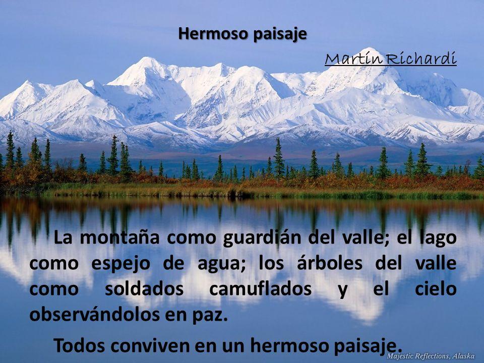 Hermoso paisaje Martín Richardi La montaña como guardián del valle; el lago como espejo de agua; los árboles del valle como soldados camuflados y el cielo observándolos en paz.