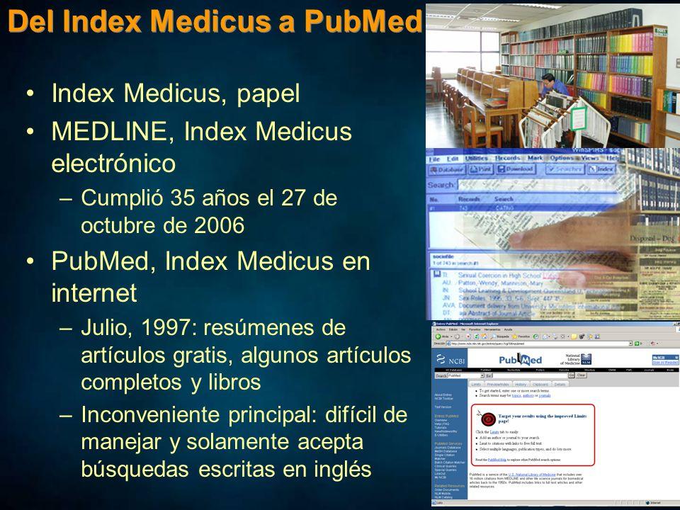 Del Index Medicus a PubMed Index Medicus, papel MEDLINE, Index Medicus electrónico –Cumplió 35 años el 27 de octubre de 2006 PubMed, Index Medicus en