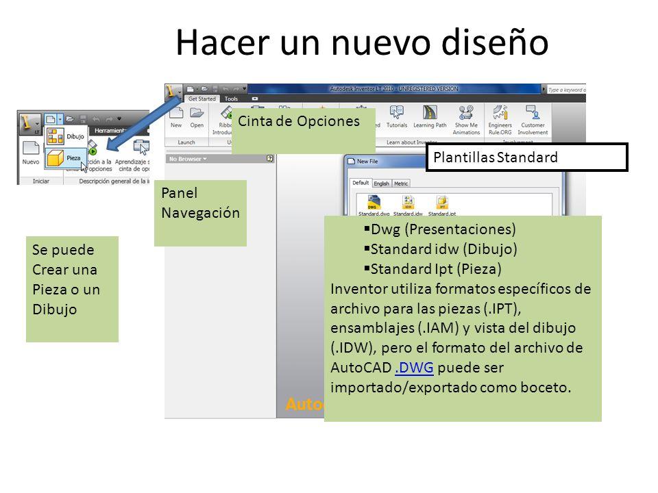 Plantillas Standard Dwg (Presentaciones) Standard idw (Dibujo) Standard Ipt (Pieza) Inventor utiliza formatos específicos de archivo para las piezas (