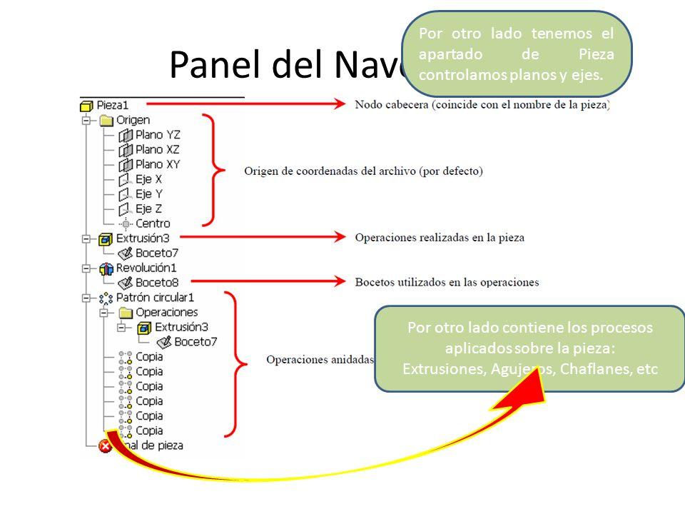 Panel del Navegador Por otro lado contiene los procesos aplicados sobre la pieza: Extrusiones, Agujeros, Chaflanes, etc Por otro lado tenemos el apart