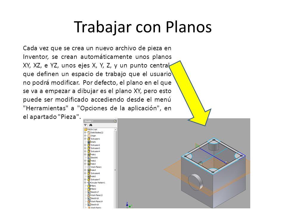 Trabajar con Planos Cada vez que se crea un nuevo archivo de pieza en Inventor, se crean automáticamente unos planos XY, XZ, e YZ, unos ejes X, Y, Z,