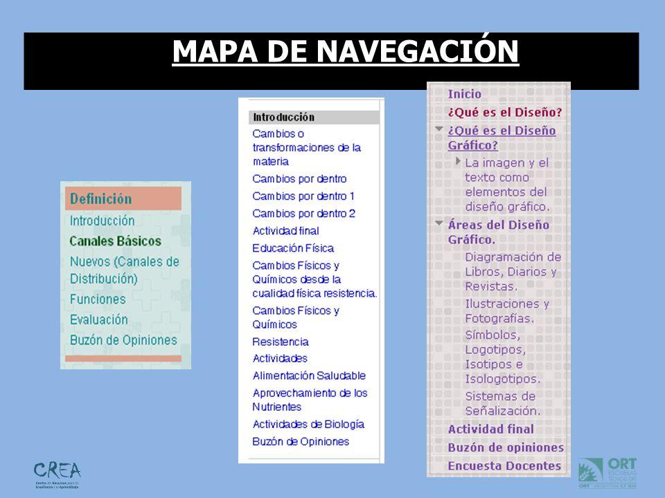 ¿El mapa de navegación se presenta como una opción más para que el alumno sepa dónde está, por dónde ha pasado, y qué le falta por ver.