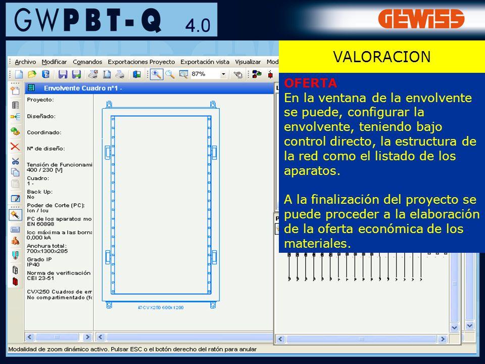 128 VALORACION OFERTA En la ventana de la envolvente se puede, configurar la envolvente, teniendo bajo control directo, la estructura de la red como e