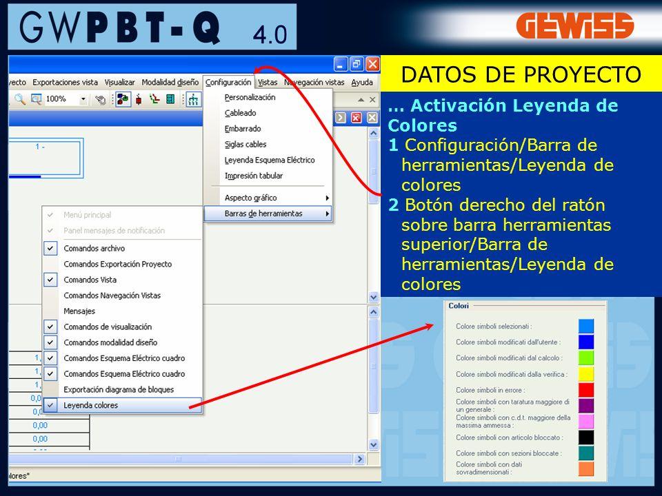 21 … Activación Leyenda de Colores 1 Configuración/Barra de herramientas/Leyenda de colores 2 Botón derecho del ratón sobre barra herramientas superio