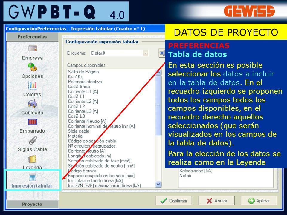 27 PREFERENCIAS Tabla de datos En esta sección es posible seleccionar los datos a incluir en la tabla de datos. En el recuadro izquierdo se proponen t