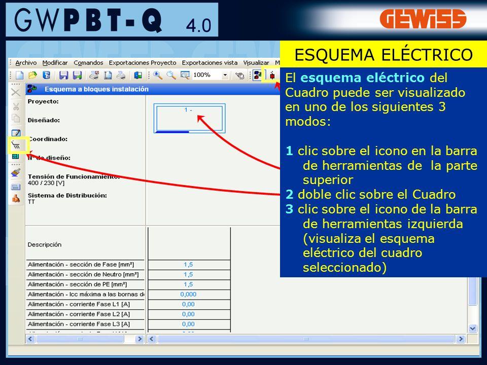 34 ESQUEMA ELÉCTRICO El esquema eléctrico del Cuadro puede ser visualizado en uno de los siguientes 3 modos: 1 clic sobre el icono en la barra de herr