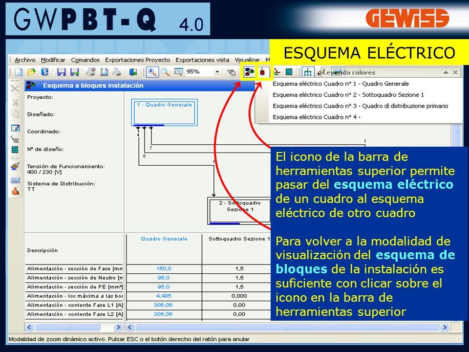 35 El icono de la barra de herramientas superior permite pasar del esquema eléctrico de un cuadro al esquema eléctrico de otro cuadro Para volver a la