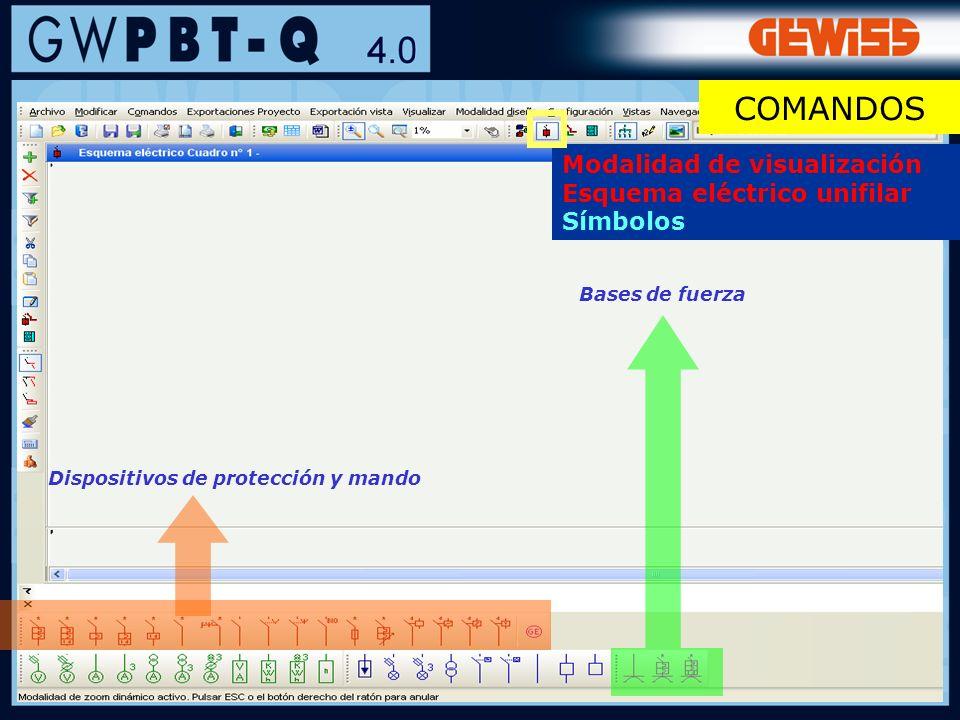 38 Dispositivos de protección y mando Bases de fuerza Modalidad de visualización Esquema eléctrico unifilar Símbolos COMANDOS
