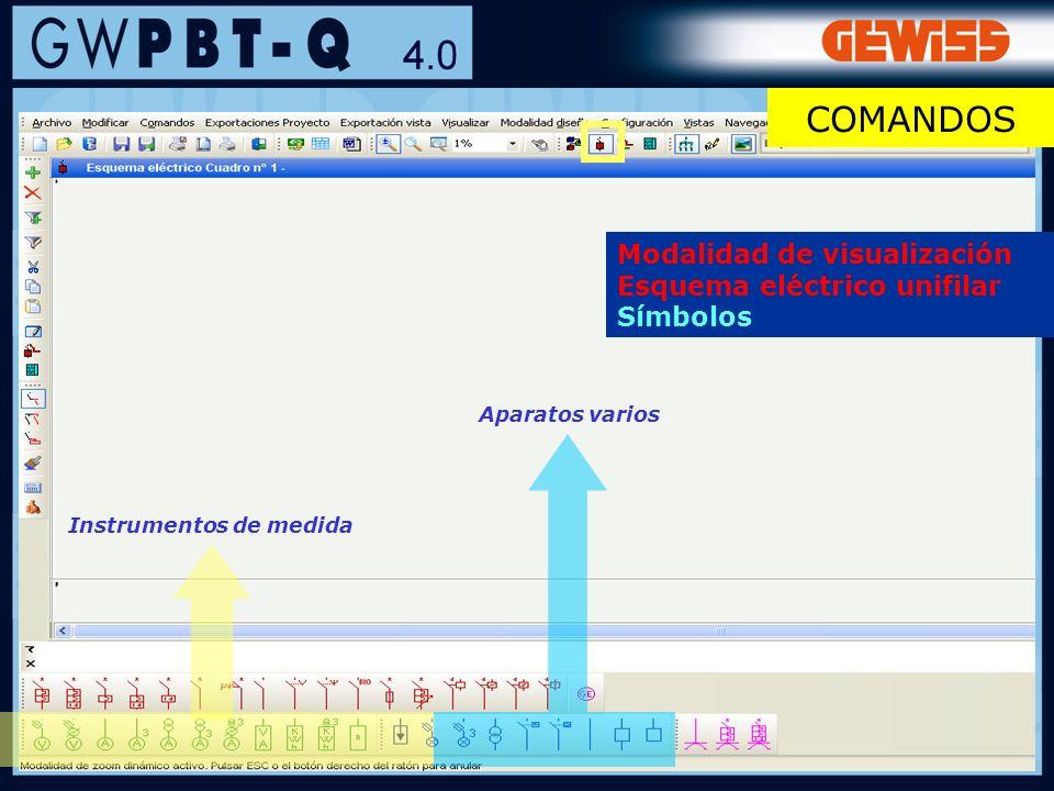 39 Instrumentos de medida Aparatos varios Modalidad de visualización Esquema eléctrico unifilar Símbolos COMANDOS