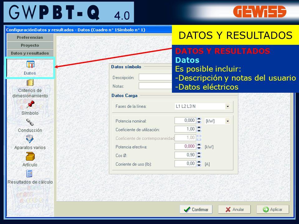 41 DATOS Y RESULTADOS Datos Es posible incluir: -Descripción y notas del usuario -Datos eléctricos DATOS Y RESULTADOS