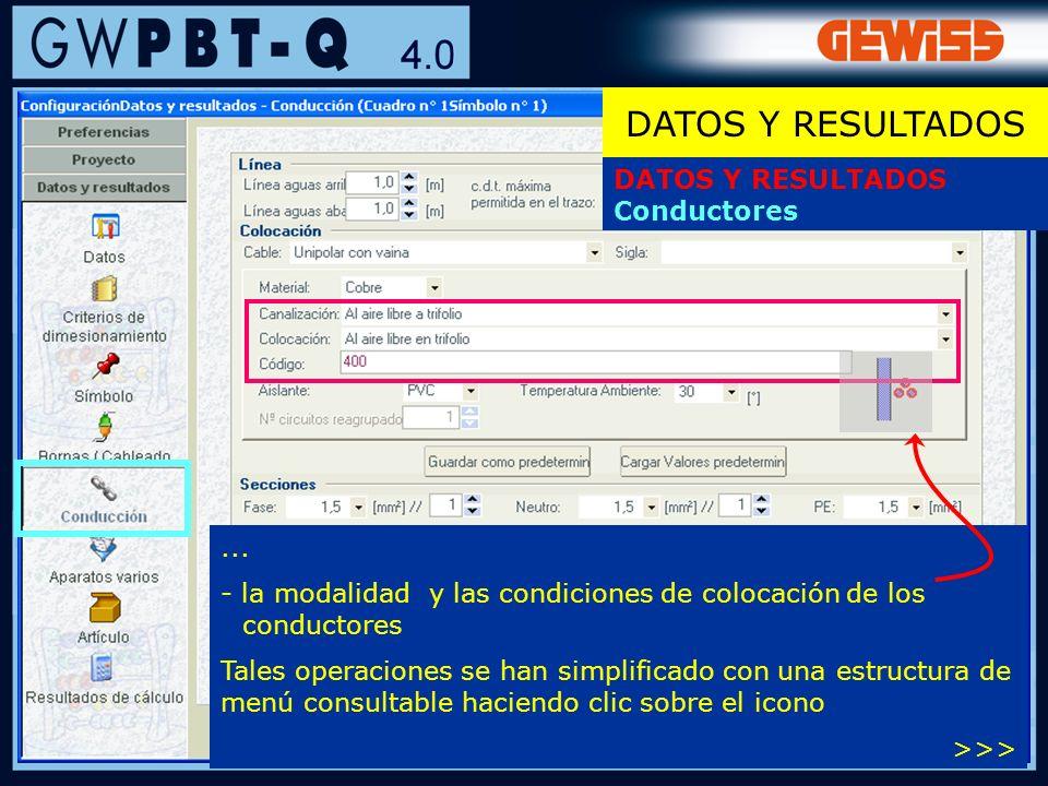 47... - la modalidad y las condiciones de colocación de los conductores Tales operaciones se han simplificado con una estructura de menú consultable h