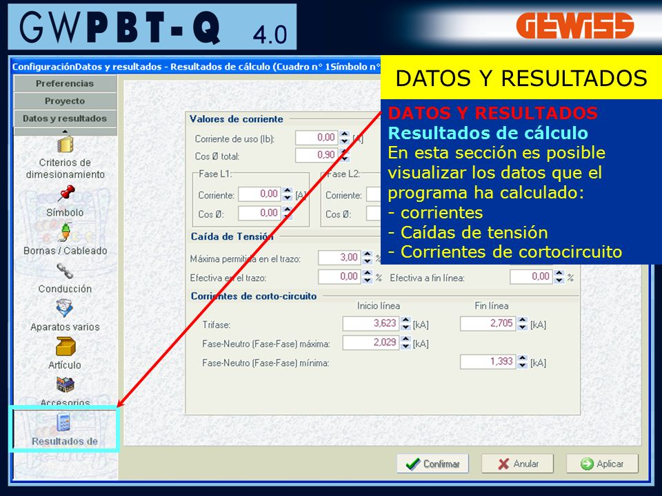 54 DATOS Y RESULTADOS Resultados de cálculo En esta sección es posible visualizar los datos que el programa ha calculado: - corrientes - Caídas de ten