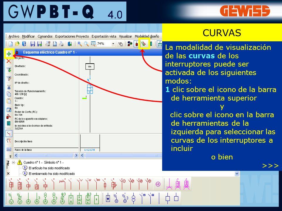 55 La modalidad de visualización de las curvas de los interruptores puede ser activada de los siguientes modos: 1 clic sobre el icono de la barra de h