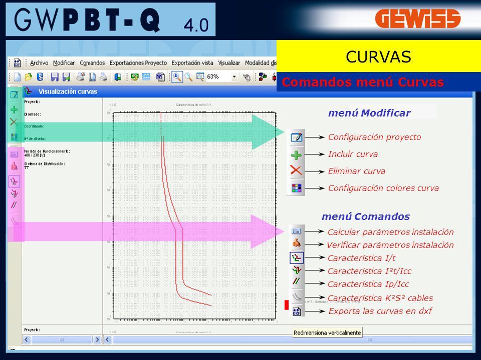 57 Comandos menú Curvas Configuración proyecto Incluir curva Configuración colores curva Eliminar curva menú Modificar Característica I/t menú Comando
