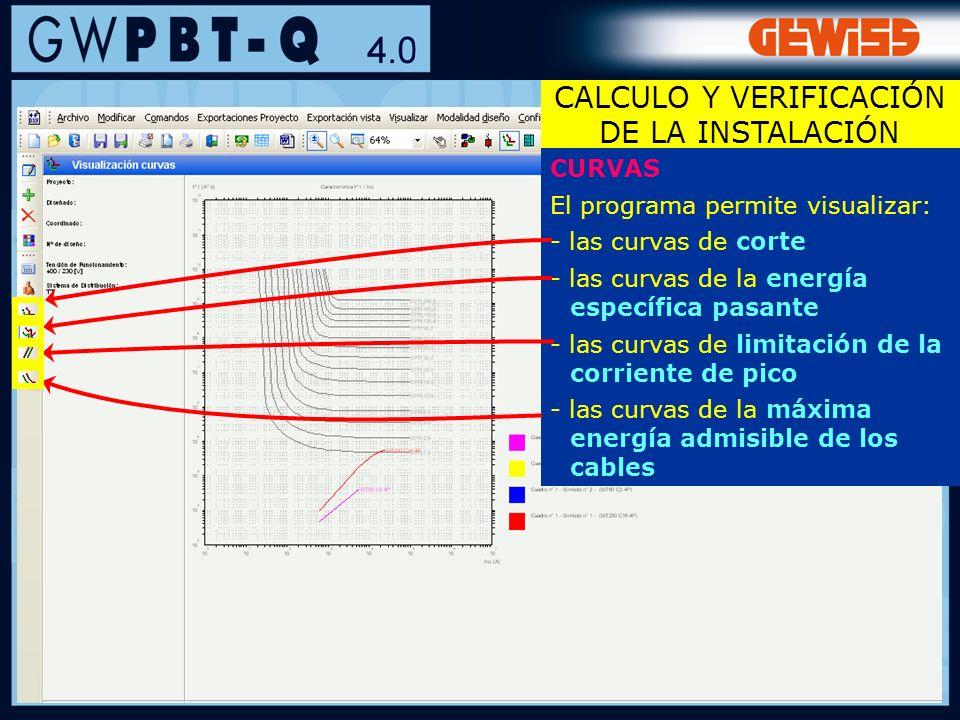 59 CURVAS El programa permite visualizar: - las curvas de corte - las curvas de la energía específica pasante - las curvas de limitación de la corrien