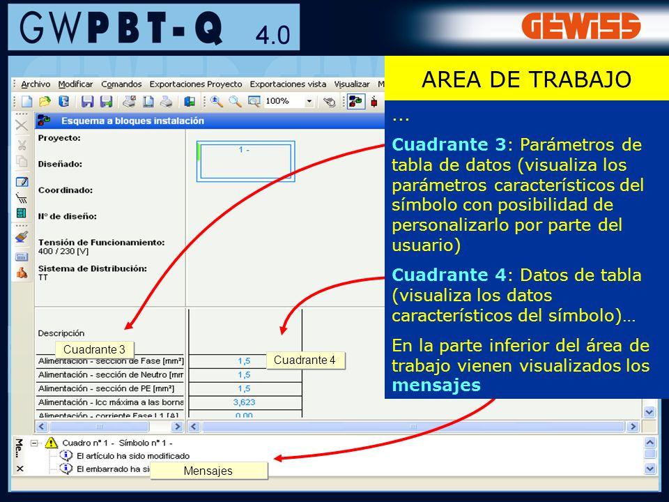 66 Cuadrante 4 Cuadrante 3 Mensajes... Cuadrante 3: Parámetros de tabla de datos (visualiza los parámetros característicos del símbolo con posibilidad