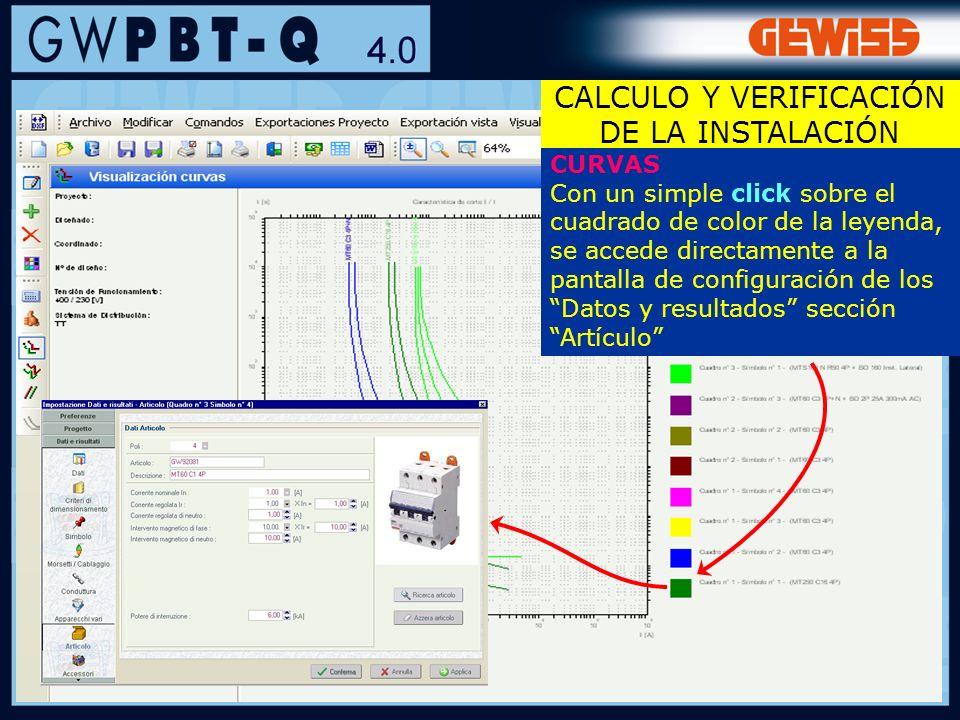 62 CURVAS Con un simple click sobre el cuadrado de color de la leyenda, se accede directamente a la pantalla de configuración de los Datos y resultado