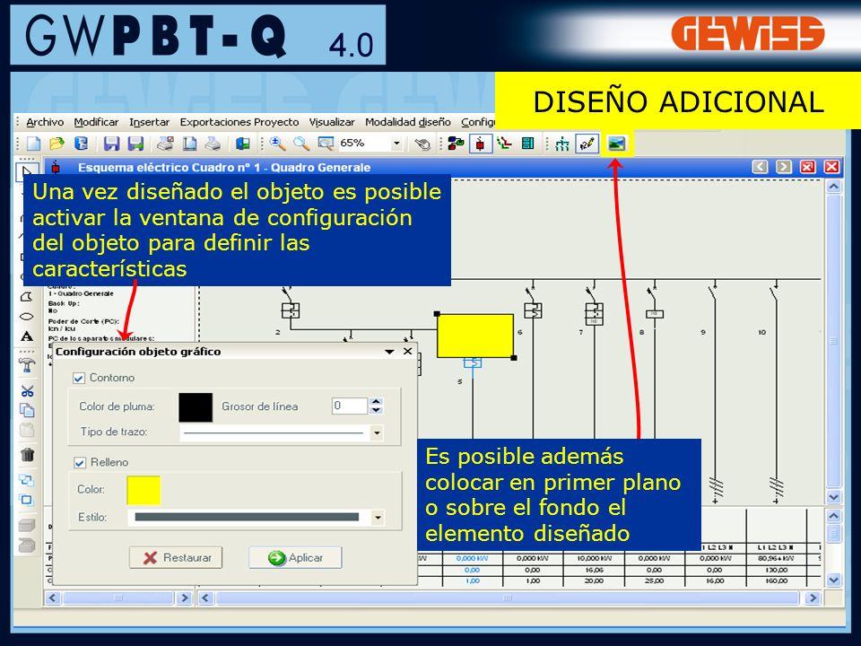 71 Una vez diseñado el objeto es posible activar la ventana de configuración del objeto para definir las características Es posible además colocar en