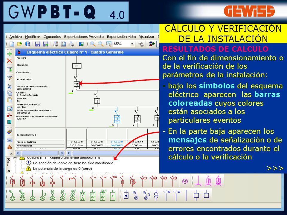 76 RESULTADOS DE CALCULO Con el fin de dimensionamiento o de la verificación de los parámetros de la instalación: - bajo los símbolos del esquema eléc