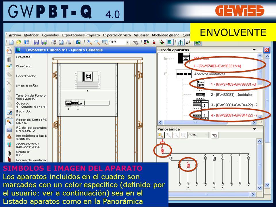 88 SIMBOLOS E IMAGEN DEL APARATO Los aparatos incluidos en el cuadro son marcados con un color específico (definido por el usuario: ver a continuación