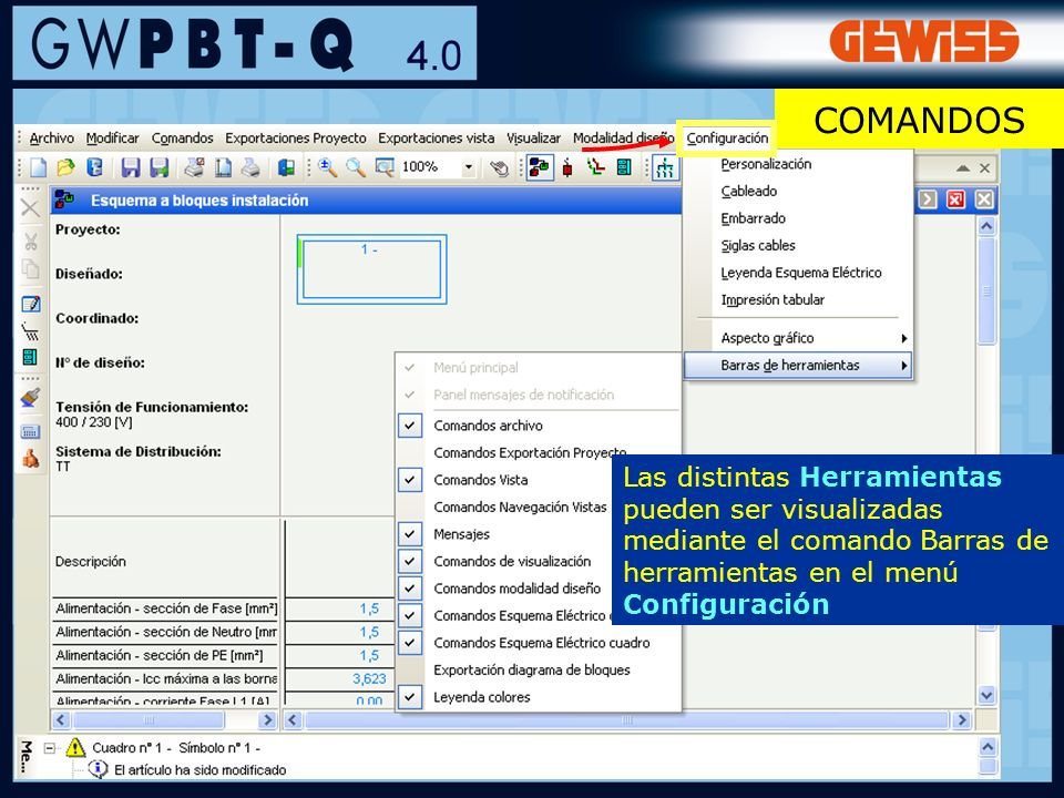 80 MENSAJES Clicando con el botón derecho del ratón sobre el mensaje seleccionado, el programa permite: -visualizar directamente la pantalla que contiene los datos a los cuales se refiere el mensaje -seleccionar automáticamente en el esquema eléctrico el símbolo al cual se refiere el mensaje - Imprimir el listado completo de los mensajes - Guardar el listado completo de los mensajes en varios formatos CÁLCULO Y VERIFICACIÓN DE LA INSTALACIÓN