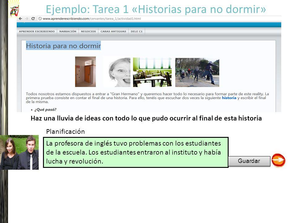 La profesora de inglés tuvo problemas con los estudiantes de la escuela. Los estudiantes entraron al instituto y había lucha y revolución. Ejemplo: Ta