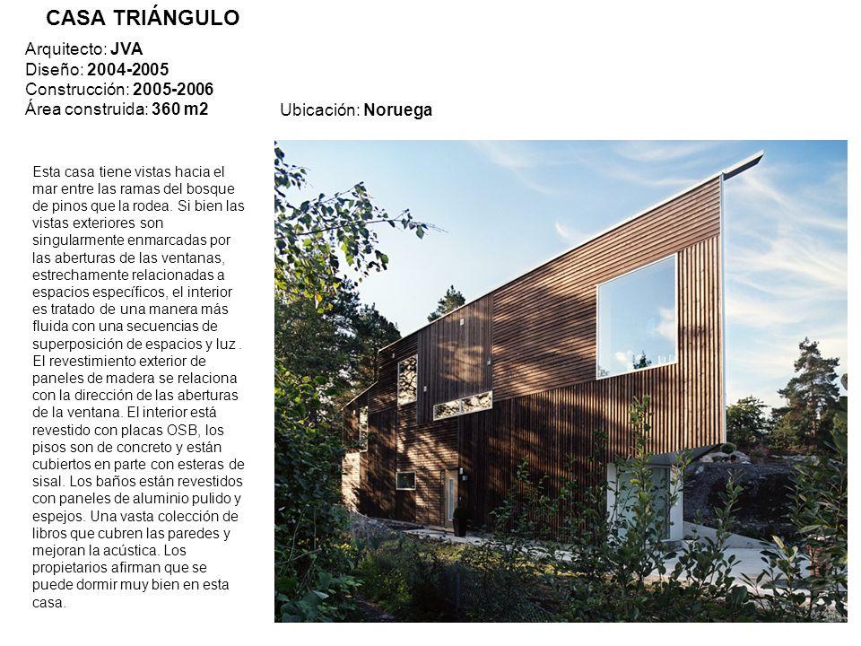 Ubicación: Noruega Arquitecto: JVA Diseño: 2004-2005 Construcción: 2005-2006 Área construida: 360 m2 Esta casa tiene vistas hacia el mar entre las ram
