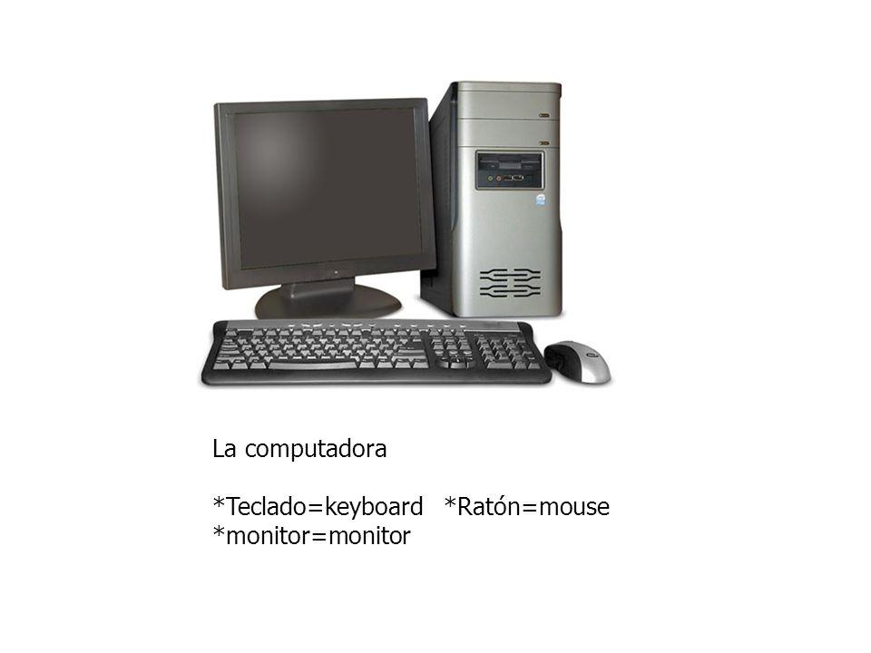 La computadora *Teclado=keyboard *Ratón=mouse *monitor=monitor