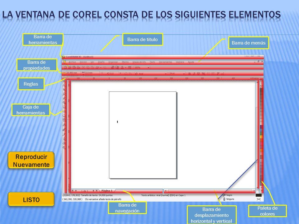 Barra de titulo Barra de menús Barra de herramientas Barra de propiedades Reglas Caja de herramientas Paleta de colores Barra de navegación Barra de desplazamiento horizontal y vertical