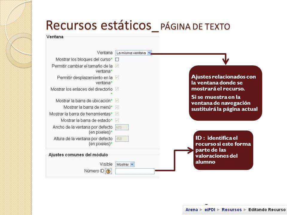 Recursos estáticos_ PÁGINA WEB Nombre del recurso Breve del contenido del recurso Texto en HTML