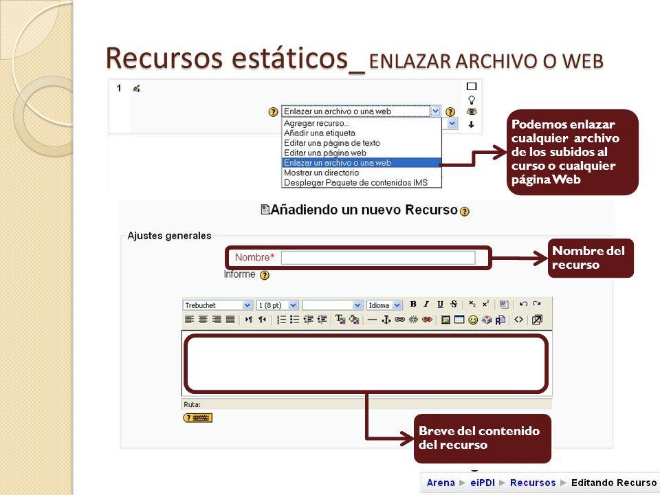 Recursos estáticos_ ENLAZAR ARCHIVO O WEB Podemos elegir cualquiera de los archivos que residan en el espacio de servidor Si el archivos no está en el espacio de servidor podemos subirlo desde aquí Escogemos el archivo a enlazar