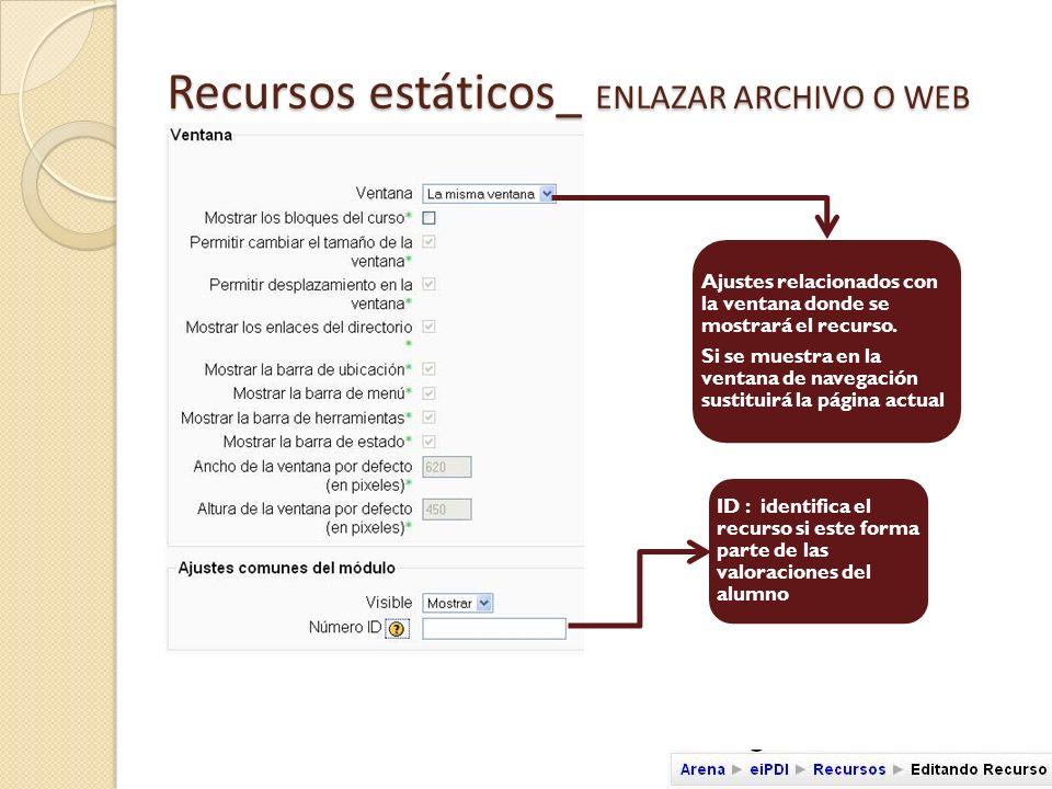 Recursos estáticos_ MOSTRAR UN DIRECTORIO Nombre del recurso Breve del contenido del recurso Facilita el acceso, navegación y descarga de ficheros accesibles en una carpeta situada en el espacio del curso